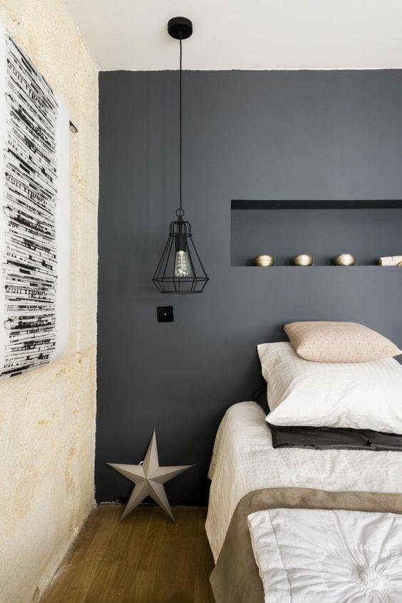 murs gris chambre a coucher