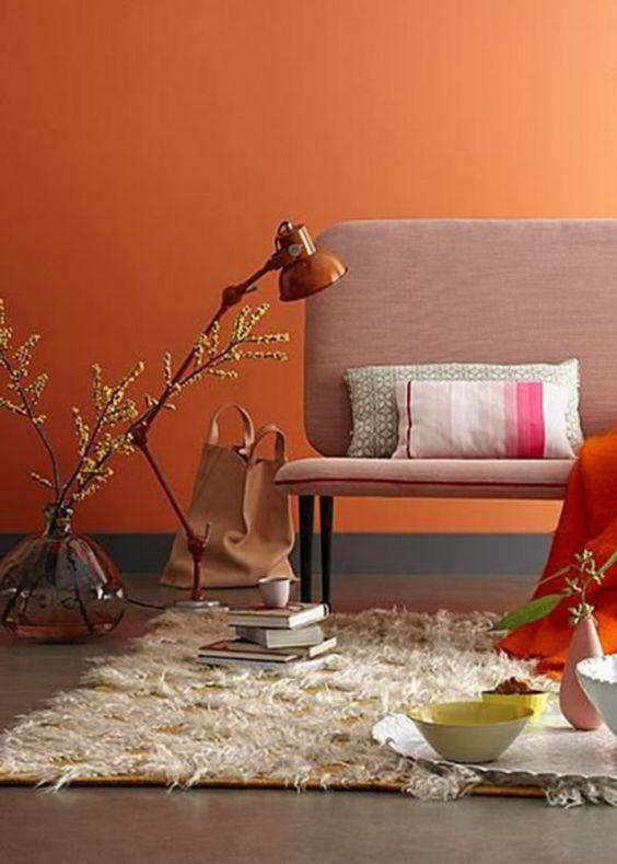 oranje-kleur-muur-decoratie