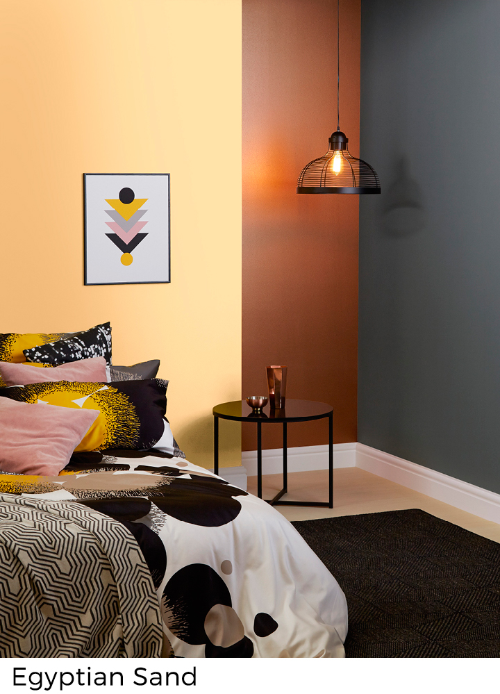 peinture murale couleurs jaunes et orang s painttrade. Black Bedroom Furniture Sets. Home Design Ideas